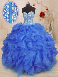 Exquisite Royal Blue Sweetheart Lace Up Beading and Ruffles Quinceanera Gowns Sleeveless