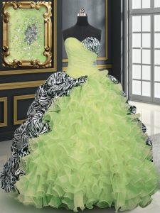 Yellow Green Lace Up Sweetheart Beading and Ruffles and Pattern Quinceanera Gown Organza and Printed Sleeveless Brush Train