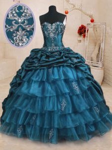 Teal Sleeveless Sweep Train Beading and Appliques and Ruffled Layers and Pick Ups With Train Quinceanera Dress