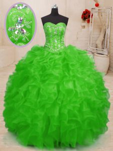 Sweetheart Sleeveless Sweet 16 Dresses Floor Length Beading and Ruffles Organza
