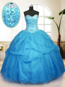 Vintage Sequins Pick Ups Baby Blue Sleeveless Tulle Lace Up Sweet 16 Quinceanera Dress for Military Ball and Sweet 16 and Quinceanera