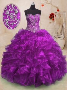 Flirting Purple Ball Gowns Beading and Ruffles Vestidos de Quinceanera Lace Up Organza Sleeveless With Train
