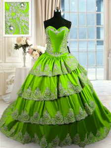 Exquisite Green Ball Gown Prom Dress Military Ball and Sweet 16 and Quinceanera with Beading and Appliques and Ruffled Layers Sweetheart Sleeveless Court Train Lace Up