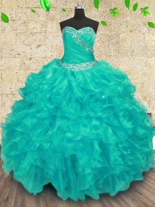Turquoise Sweetheart Neckline Beading Quince Ball Gowns Sleeveless Lace Up