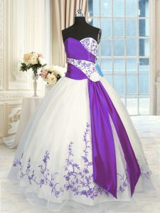 Perfect White And Purple Ball Gowns Embroidery and Sashes ribbons Sweet 16 Dresses Lace Up Organza Sleeveless Floor Length