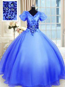 Fitting Floor Length Blue 15th Birthday Dress Organza Short Sleeves Appliques