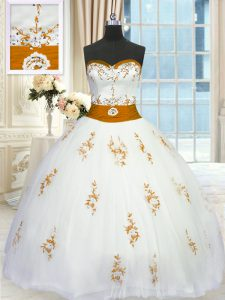 Tulle Sleeveless Floor Length Quinceanera Gowns and Appliques and Belt