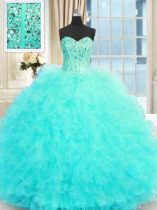 Sweetheart Sleeveless Lace Up Quinceanera Gowns Aqua Blue Tulle