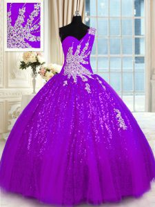 Comfortable One Shoulder Purple Lace Up Quinceanera Dresses Appliques Sleeveless Floor Length