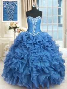 Suitable Ball Gowns Sweet 16 Dress Baby Blue Sweetheart Organza Sleeveless Floor Length Lace Up