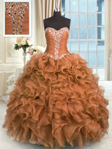 Brown Ball Gowns Sweetheart Sleeveless Organza Floor Length Lace Up Beading and Ruffles Vestidos de Quinceanera