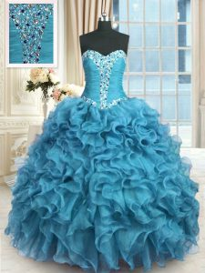 Low Price Baby Blue Organza Lace Up Quince Ball Gowns Sleeveless Floor Length Beading and Ruffles