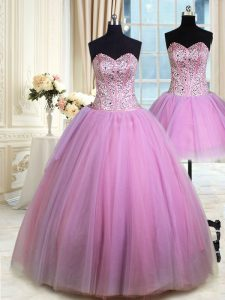 Gorgeous Three Piece Lilac Quinceanera Dress Military Ball and Sweet 16 and Quinceanera with Beading Sweetheart Sleeveless Lace Up