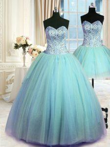 Traditional Three Piece Tulle Sweetheart Sleeveless Lace Up Beading 15 Quinceanera Dress in Blue