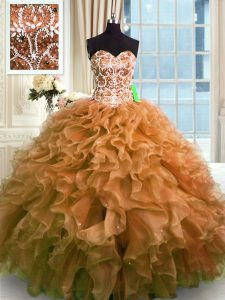 Fantastic Floor Length Lace Up Sweet 16 Quinceanera Dress Brown for Military Ball and Sweet 16 and Quinceanera with Beading and Ruffles