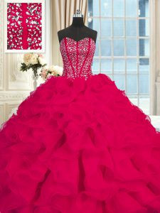 Sleeveless Organza Brush Train Lace Up Quinceanera Gowns in Red with Beading and Ruffles
