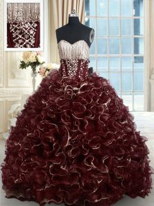 With Train Brown Quinceanera Dresses Sweetheart Sleeveless Brush Train Lace Up