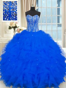 Modest Royal Blue Strapless Neckline Beading and Ruffles Sweet 16 Dress Sleeveless Lace Up