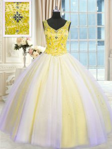 Adorable V-neck Sleeveless Tulle Ball Gown Prom Dress Beading and Sequins Lace Up
