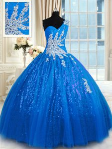 Charming One Shoulder Tulle and Sequined Sleeveless Floor Length Sweet 16 Quinceanera Dress and Appliques