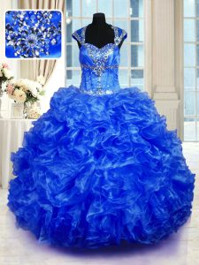 Floor Length Ball Gowns Cap Sleeves Royal Blue 15 Quinceanera Dress Lace Up