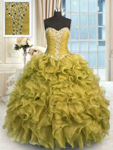 Brown Lace Up Sweetheart Beading and Ruffles Quinceanera Dress Organza Sleeveless