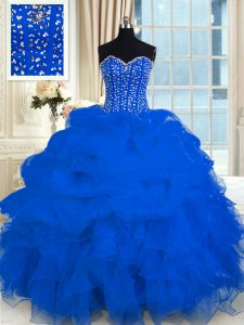 Cute Royal Blue Sleeveless Beading and Ruffles Floor Length Quinceanera Gowns