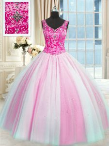 Floor Length Baby Pink and Pink And White Quinceanera Gowns V-neck Sleeveless Lace Up