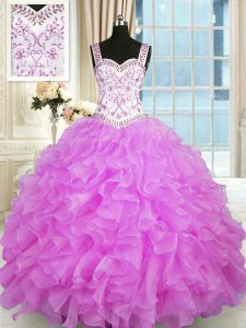 Hot Sale Lilac Organza Lace Up Straps Sleeveless Floor Length 15 Quinceanera Dress Beading and Ruffles