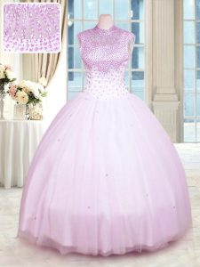 Lilac Ball Gowns High-neck Sleeveless Tulle Floor Length Zipper Beading Vestidos de Quinceanera