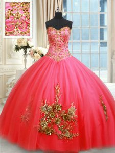Fashionable Sleeveless Floor Length Beading and Appliques and Embroidery Lace Up Sweet 16 Dresses with Coral Red