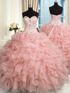 High Quality Sleeveless Organza Floor Length Lace Up Sweet 16 Quinceanera Dress in Baby Pink with Beading and Ruffles