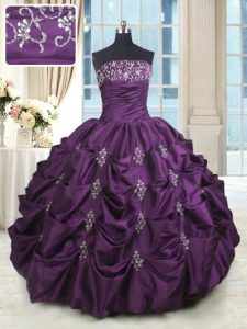 New Arrival Dark Purple Ball Gowns Strapless Sleeveless Taffeta Floor Length Lace Up Beading and Appliques and Embroidery and Pick Ups Quinceanera Dresses