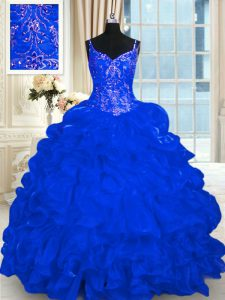 Enchanting Sleeveless Beading and Embroidery and Ruffles and Pick Ups Lace Up Ball Gown Prom Dress with Royal Blue Brush Train