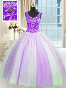 Best Selling White And Purple Sleeveless Floor Length Beading and Sequins Lace Up Quince Ball Gowns