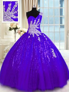 Superior Purple Sweet 16 Dress Military Ball and Sweet 16 and Quinceanera with Appliques One Shoulder Sleeveless Lace Up