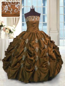 Brown Strapless Lace Up Beading and Pick Ups 15th Birthday Dress Sleeveless