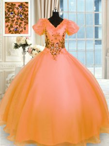 Pretty Organza V-neck Short Sleeves Lace Up Appliques 15th Birthday Dress in Orange