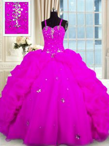 Pick Ups Floor Length Fuchsia Quinceanera Gowns Spaghetti Straps Sleeveless Lace Up