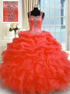 Artistic Ball Gowns Sweet 16 Quinceanera Dress Red Straps Organza Sleeveless Floor Length Zipper