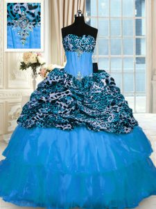 Baby Blue Organza and Printed Lace Up Sweetheart Sleeveless Sweet 16 Quinceanera Dress Sweep Train Beading and Ruffled Layers
