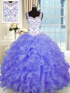 Floor Length Lace Up Quinceanera Dresses Purple for Military Ball and Sweet 16 and Quinceanera with Beading and Appliques and Ruffles
