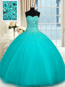 Aqua Blue Organza Lace Up 15 Quinceanera Dress Sleeveless Floor Length Beading