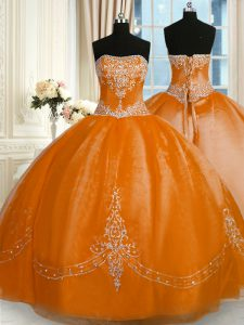 Rust Red Sleeveless Floor Length Beading and Embroidery Lace Up Quinceanera Dresses