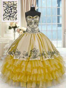 Gold Lace Up Sweetheart Beading and Embroidery and Ruffled Layers Sweet 16 Quinceanera Dress Organza and Taffeta Sleeveless