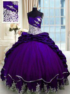 Amazing Pick Ups Sweetheart Sleeveless Brush Train Lace Up Quince Ball Gowns Purple Taffeta