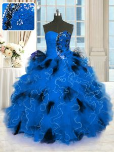 Amazing Blue Ball Gown Prom Dress Military Ball and Sweet 16 and Quinceanera with Beading and Ruffles Strapless Sleeveless Lace Up