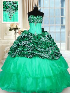 Fitting Sleeveless Organza and Printed Sweep Train Lace Up Quinceanera Dress in Turquoise with Beading and Ruffled Layers