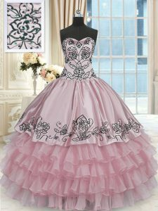 Sleeveless Beading and Embroidery and Ruffled Layers Lace Up Vestidos de Quinceanera