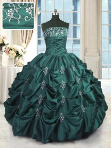 Sophisticated Peacock Green Strapless Lace Up Beading and Appliques and Embroidery and Pick Ups Sweet 16 Dresses Sleeveless